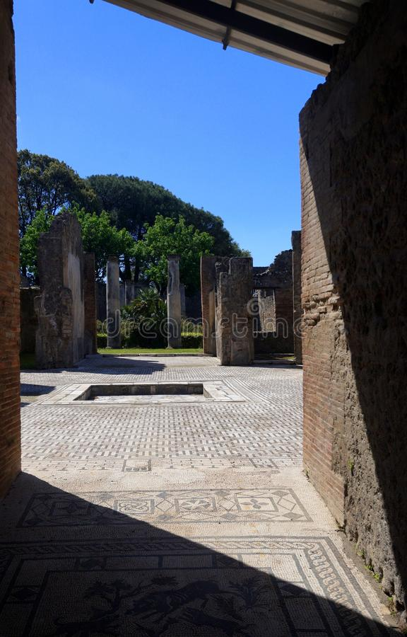 Home in Ancient Pompeii. Pompeii, an ancient Roman city near Naples was buried by volcanic ash and pumice in the eruption of Mount Vesuvius in AD 79 royalty free stock photo
