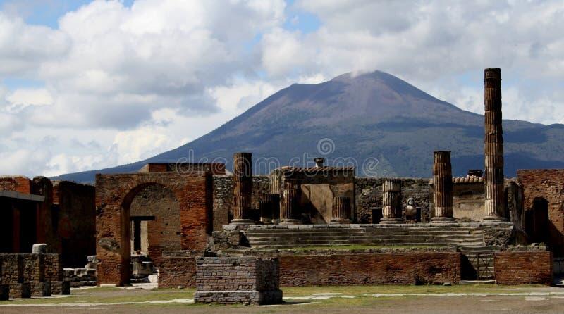 Pompeii. Ancient ruins of Pompeii and volcano Vesuvius royalty free stock image