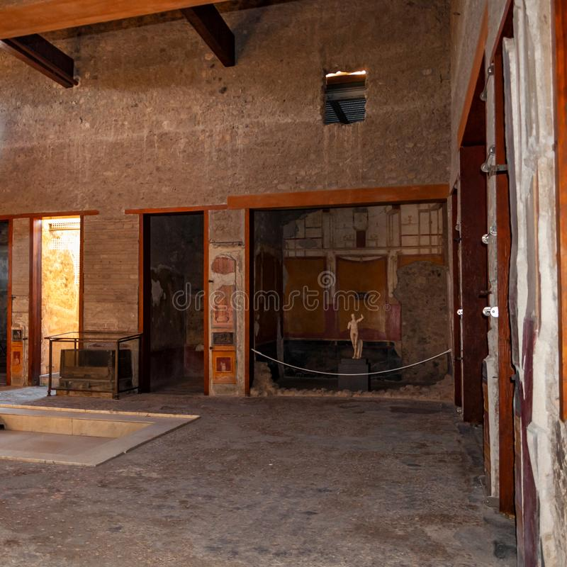 Pompeii, the best preserved archaeological site in the world, Italy. Home interior. Pompeii, the archaeological site rich in houses, squares and historical royalty free stock images