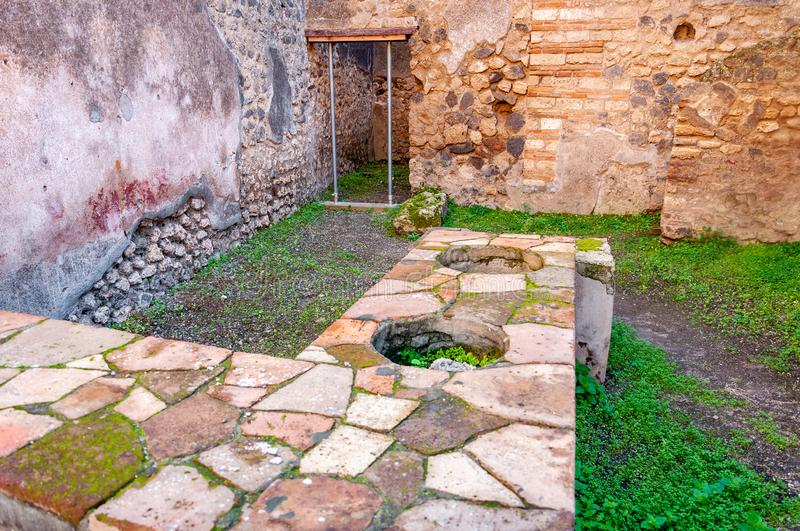 Pompeii, the best preserved archaeological site in the world, Italy. Pompeii, the archaeological site rich in houses, squares and historical remains of the Roman stock image