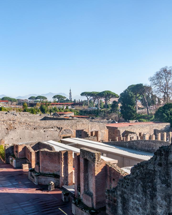 Pompeii, the best preserved archaeological site in the world, Italy. The big theater. Pompeii, the archaeological site rich in houses, squares and historical stock photography