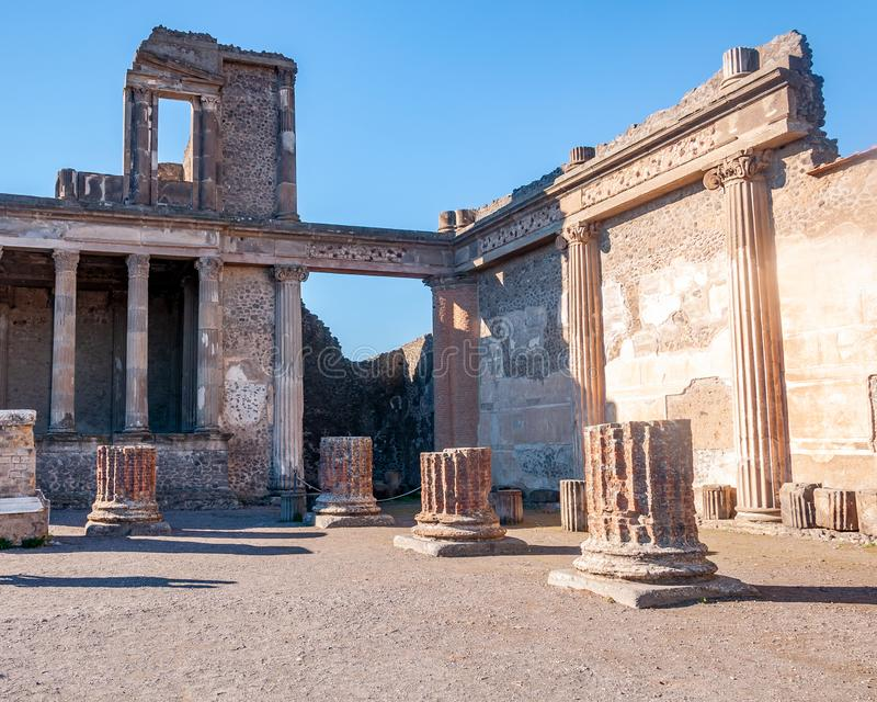 Pompeii, the best preserved archaeological site in the world, Italy. Pompeii, the archaeological site rich in houses, squares and historical remains of the Roman royalty free stock photography