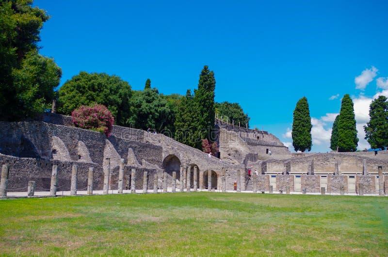Pompeii, archeological site, Big Gym or La Palestre Grande. Pompeii, archeological site. Big Gym or La Palestre Grande stock photography