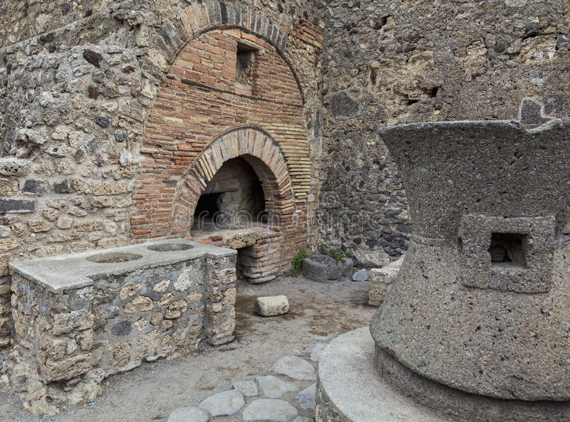 Pompeii bakery. Bakery building in pompeii ruins royalty free stock images