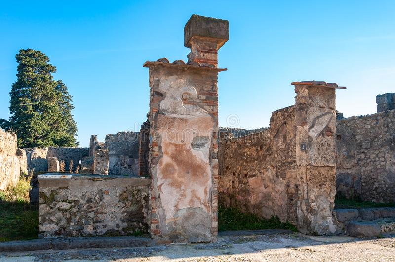 Pompeii, the best preserved archaeological site in the world, Italy. Pompeii, the best preserved archaeological site in the world, with many houses, squares and stock photo