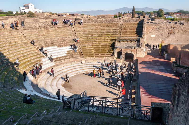 Pompeii, the best preserved archaeological site in the world, Italy. The big theater. Pompeii, the best preserved archaeological site in the world, with many stock images