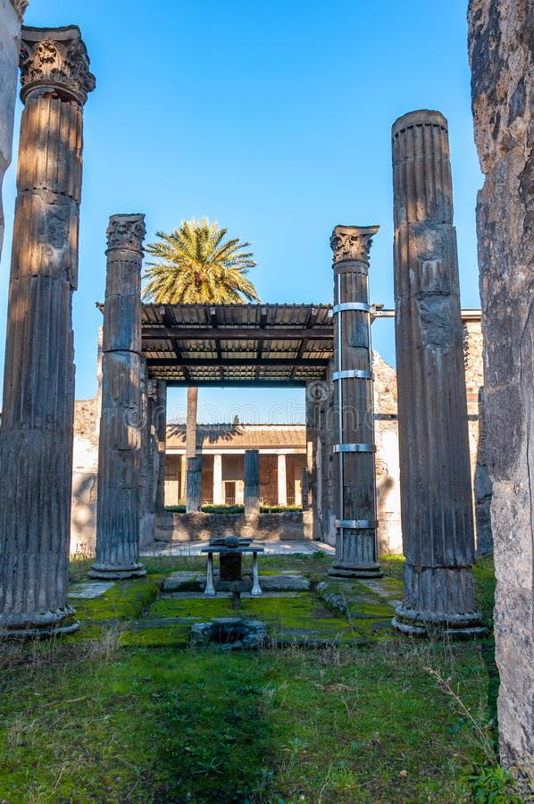 Pompeii, the best preserved archaeological site in the world, Italy. Pompeii, the archaeological site rich in houses, squares and historical remains of the Roman stock photography