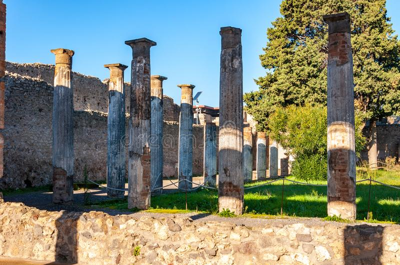 Pompeii, the best preserved archaeological site in the world, Italy. Pompeii, the archaeological site rich in houses, squares and historical remains of the Roman royalty free stock images