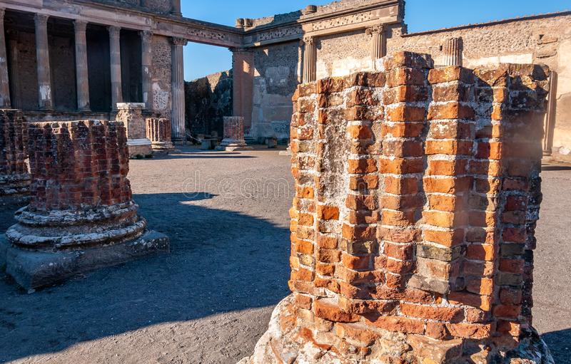 Pompeii, the best preserved archaeological site in the world, Italy. Pompeii, the archaeological site rich in houses, squares and historical remains of the Roman stock photo