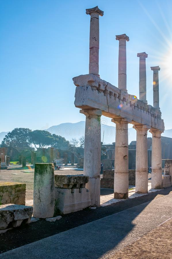Pompeii, the best preserved archaeological site in the world, Italy. Pompeii, the archaeological site rich in houses, squares and historical remains of the Roman royalty free stock image