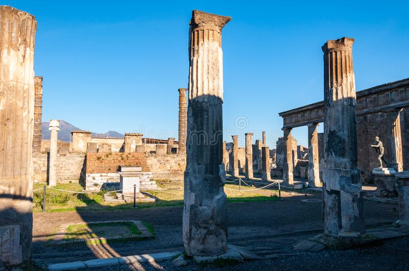 Pompeii, the best preserved archaeological site in the world, Italy. Pompeii, the archaeological site rich in houses, squares and historical remains of the Roman stock photos