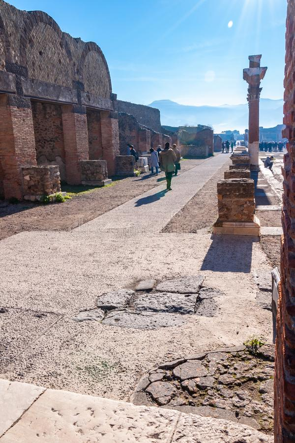Pompeii, the best preserved archaeological site in the world, Italy. Pompeii, the best preserved archaeological site in the world, with many houses, squares and royalty free stock image