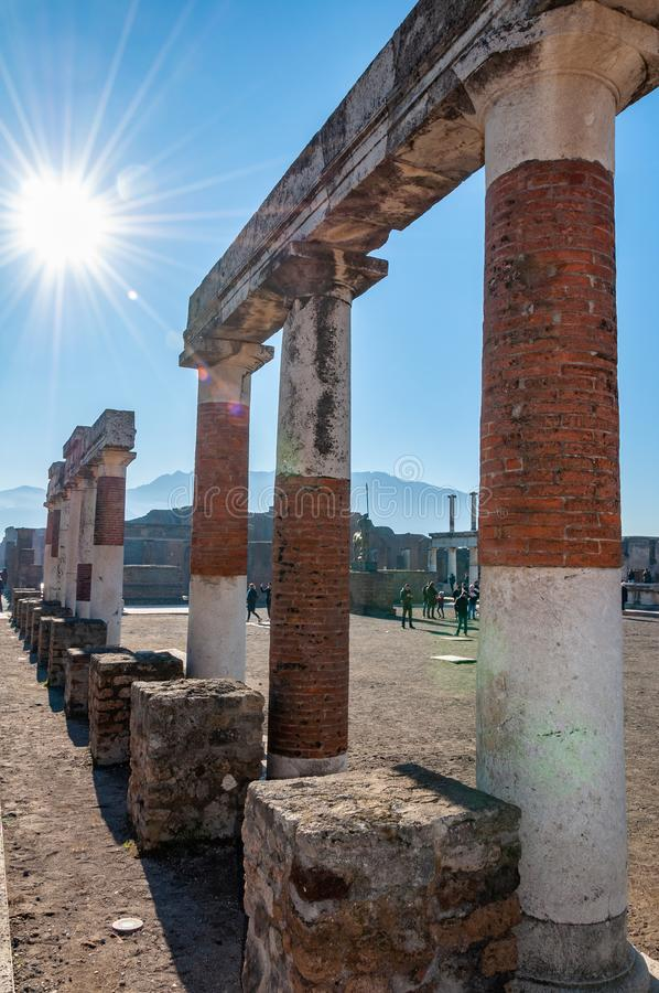 Pompeii, the best preserved archaeological site in the world, Italy. Pompeii, the best preserved archaeological site in the world, with many houses, squares and stock photography