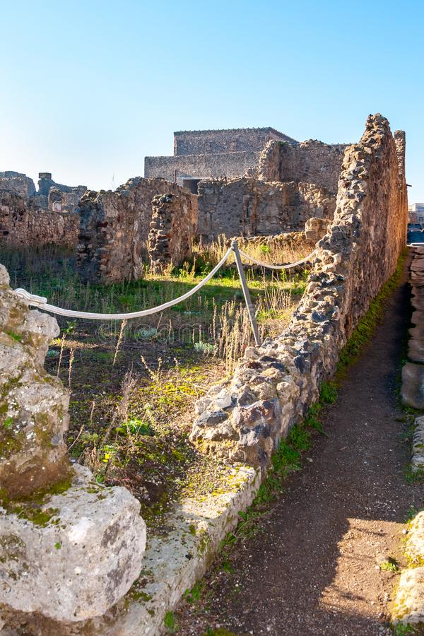Pompeii, the best preserved archaeological site in the world, Italy. Pompeii, the best preserved archaeological site in the world, with many houses, squares and royalty free stock photos