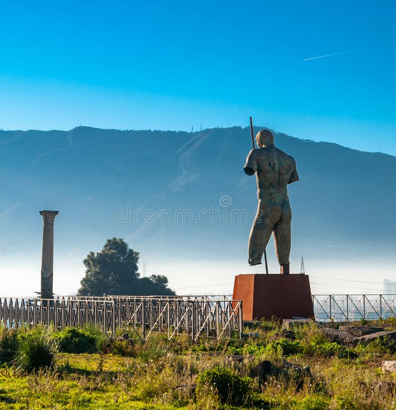Pompeii, the best preserved archaeological site in the world, Italy. The statue of the Daedalus of Mitoraj. royalty free stock images