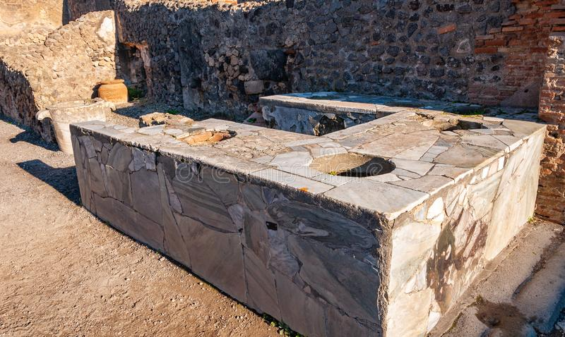 Pompeii, the best preserved archaeological site in the world, Italy. Public fountain. Pompeii, the best preserved archaeological site in the world, with many royalty free stock photography
