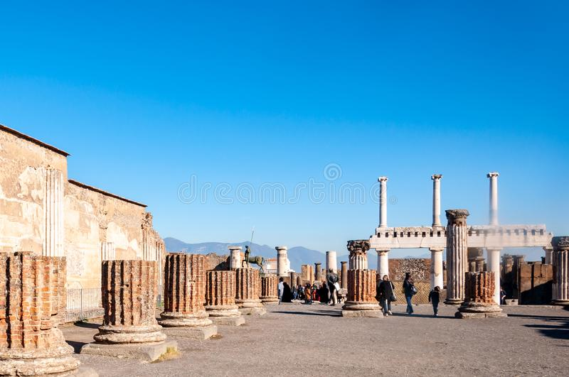 Pompeii, the best preserved archaeological site in the world, Italy. Pompeii, the best preserved archaeological site in the world, with many houses, squares and royalty free stock photo