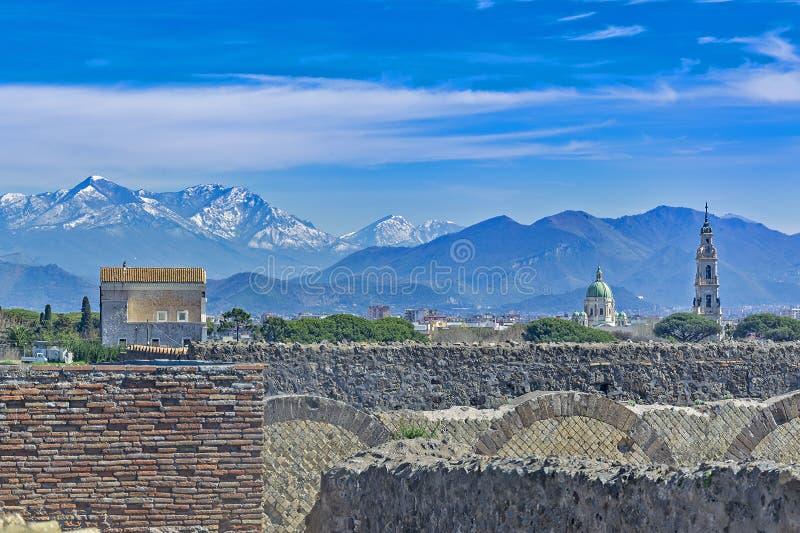 Pompeii, cidade romana antiga em Itália fotografia de stock