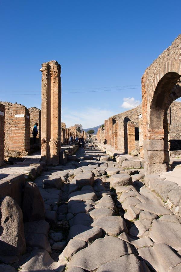 Pompeii est une ville antique enterrée dans l'ANNONCE 79 de l'éruption de photo stock