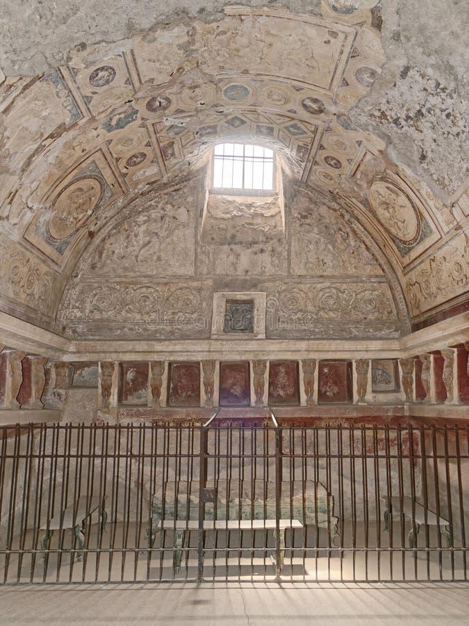 Pompeii forum baths. Image taken of the forum baths or (tepidarium), Pompeii (Unesco World Heritage List, 1997), campania, italy, rome royalty free stock photos