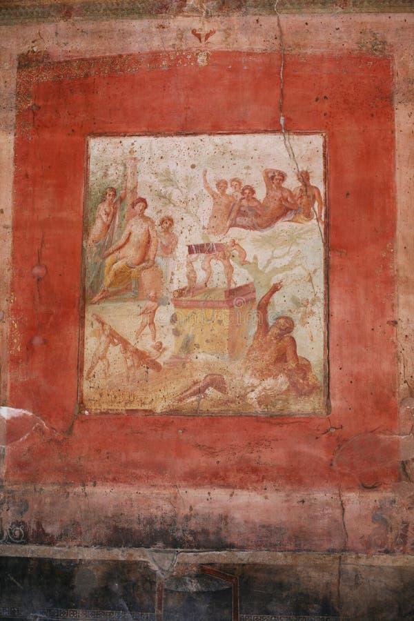 Pompeii fresco in villa within the ruins of Pompeii Italy stock photos