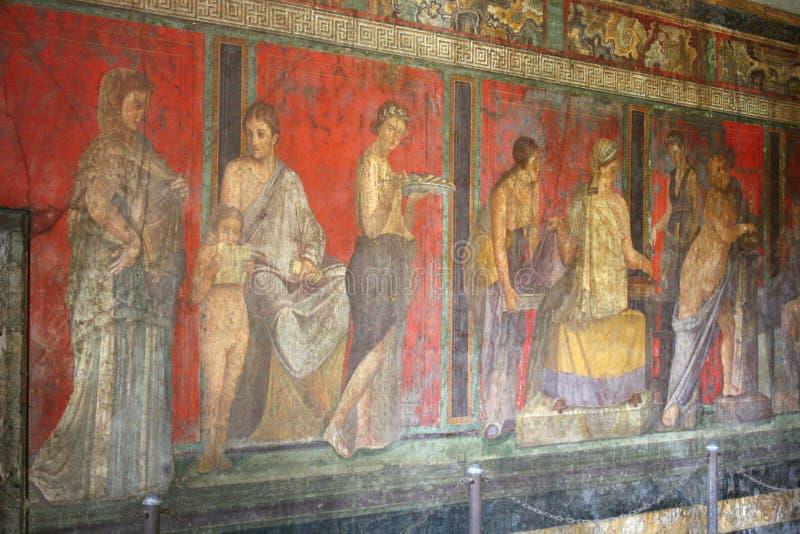 Pompeii freskomålning, Naples (Italien) arkivbilder
