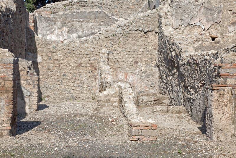 Pompeii. Interior da casa fotos de stock royalty free