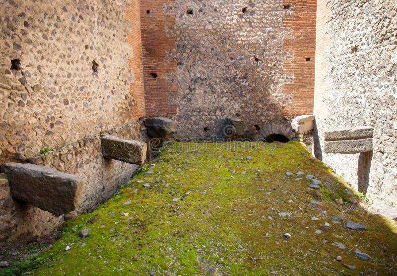 Public latrines on the ancient city of Pompeii. The public latrines on the ancient city of Pompeii royalty free stock photo