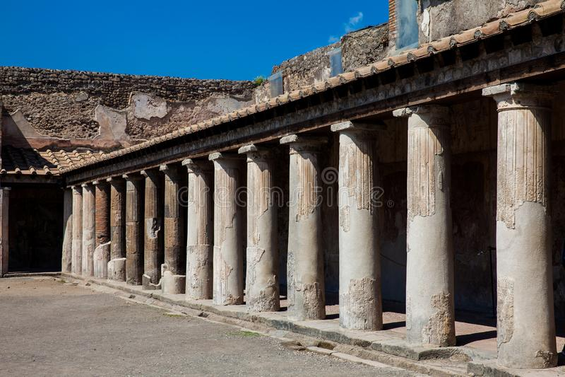 Palaestra at Stabian Baths in the ancient city of Pompeii. The Palaestra at Stabian Baths in the ancient city of Pompeii stock image