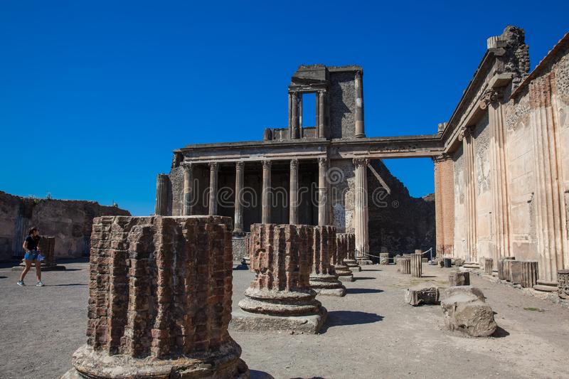 Female tourist at the Basilica of Pompeii in a beautiful early spring day stock photo
