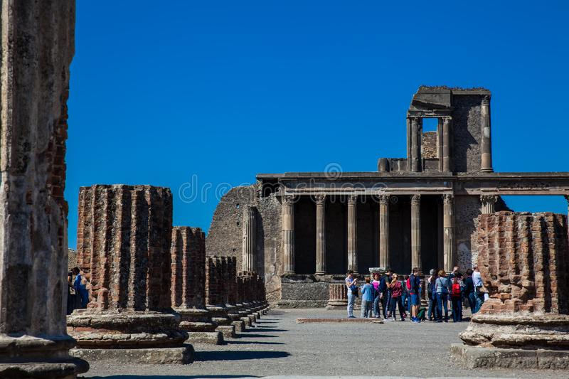 Group of tourists at the Basilica of Pompeii in a beautiful early spring day stock photo