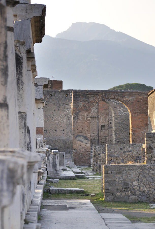 Pompeii, Italy. Evening in Pompeii, with Vesuvius in the background royalty free stock images