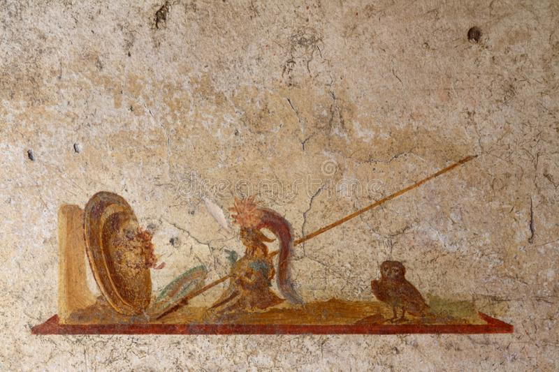Pompeii, Italy: fresco. Paintings on ancient Roman walls stock photography