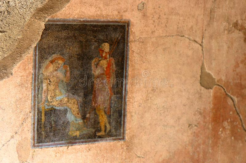 Pompeii, Italy: fresco. Paintings on ancient Roman walls royalty free stock images