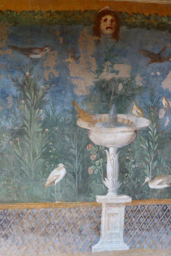 Pompeii, Italy: fresco. Paintings on ancient Roman walls royalty free stock photos