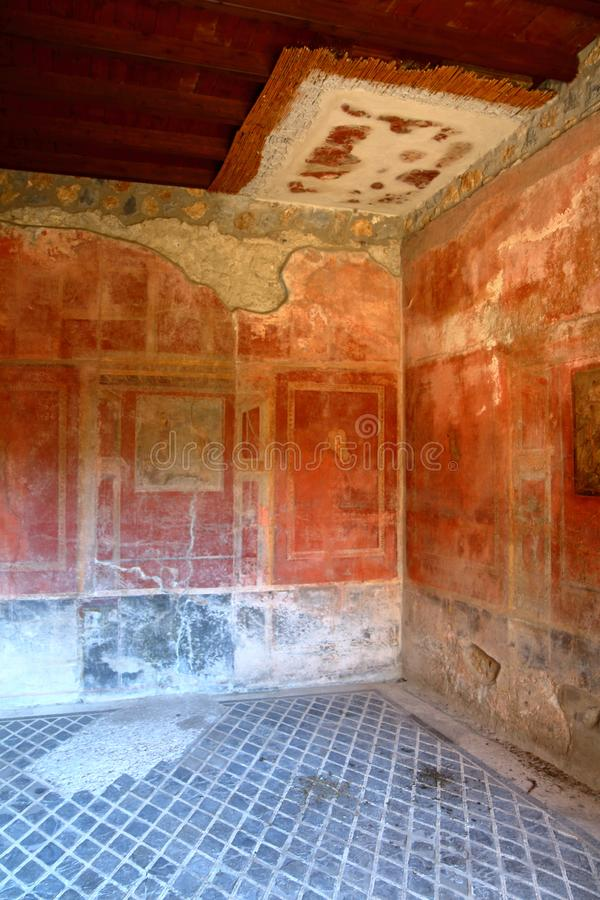 Pompeii, Italy: fresco. Paintings on ancient Roman walls royalty free stock photo