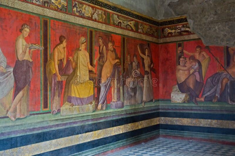 Pompeii, Italy. Frescoes in the ruins Villa dei Misteri of the old city of Pompeii, near Naples, Italy royalty free stock photography