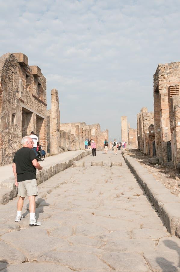 City street in Pompeii, Italy stock images