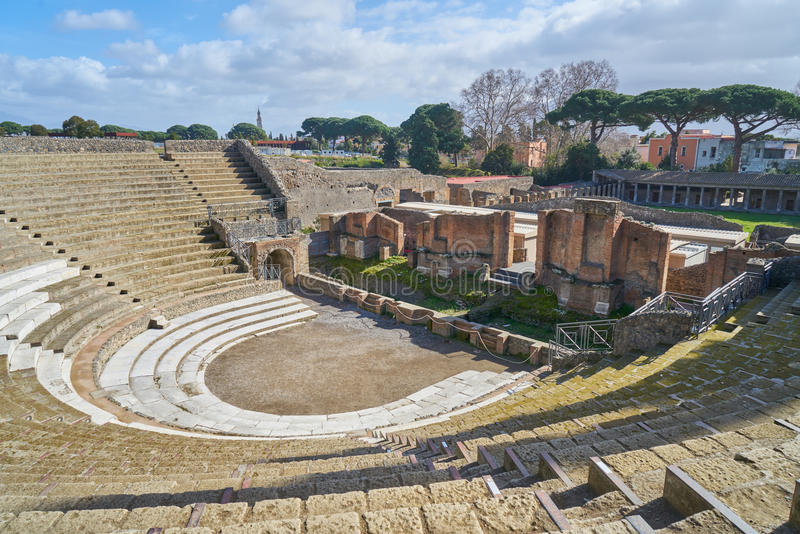 Pompeii, Italy. Theater of Pompeii, an ancient Roman town destroyed by the volcano Vesuvius stock images