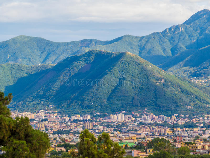 Pompeii, Italy. View of the city of Pompeii, just outside the archaeological site of the ancient Roman city that was buried after the catastrophic eruption of stock images