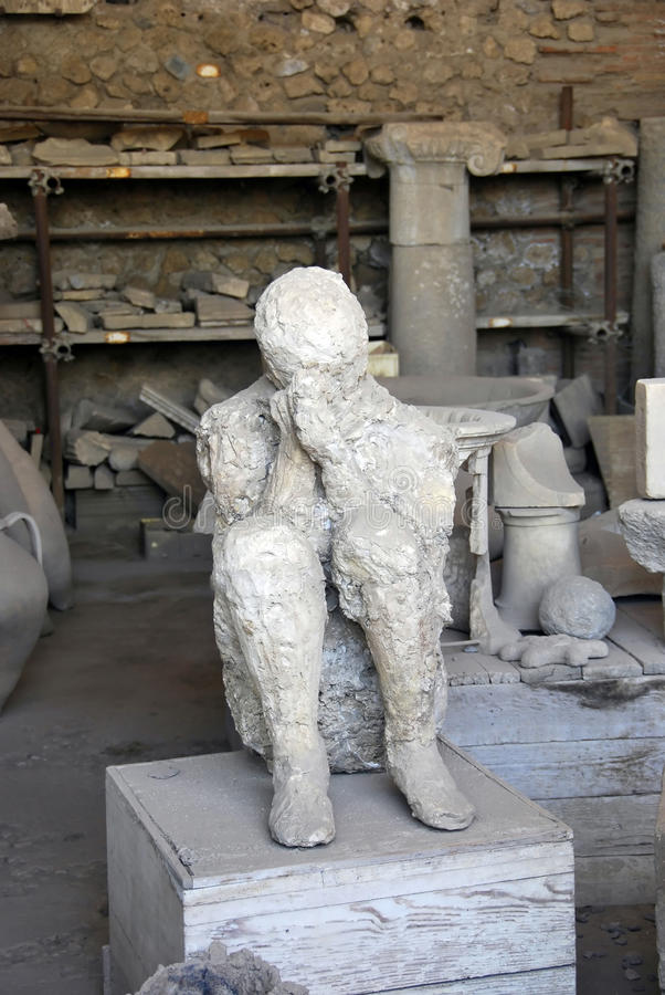 Pompeii man. Covering face with his hands royalty free stock photos