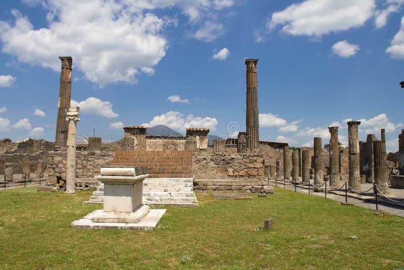 Pompeii and Mount Vesuvius. Beautiful view of Pompeii and Mount Vesuvius stock photo