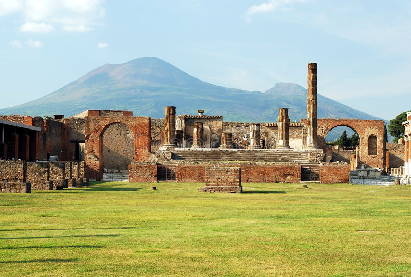 Pompeii and Mount Vesuvius. Beautiful view of Pompeii and Mount Vesuvius stock photos