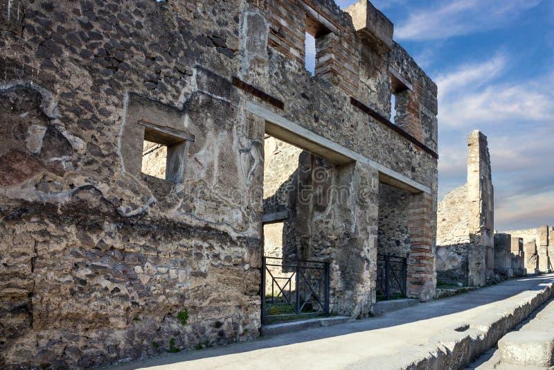 Pompeii, Naples, Włochy Antyczne Romańskie ruiny fotografia stock