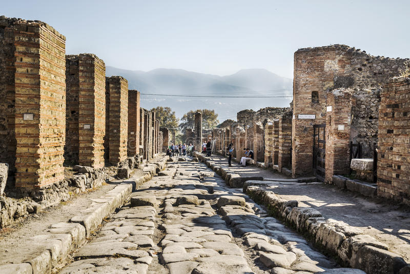 Pompeii. NOVEMBER 2: Roman archeologic ruins of the lost city of  on November 2, 2014 in , Italy stock images