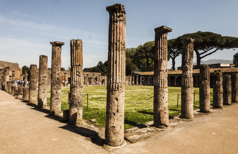 Pompeii Palestra. View of the palestra ruins in Pompeii, Italy royalty free stock photography