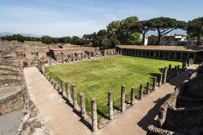 Pompeii Palestra. View of the palestra ruins in Pompeii, Italy royalty free stock images