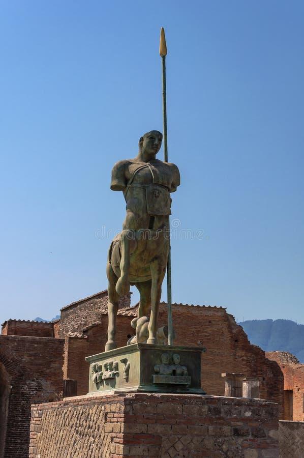Pompeii. Roman Pompeii ruins, Equestrian statue in Regio VII royalty free stock photo