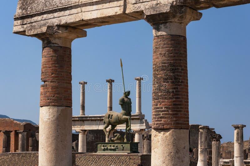 Pompeii. Roman Pompeii ruins, Equestrian statue in Regio VII royalty free stock photos