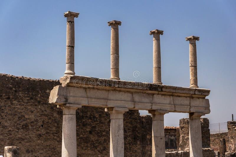 Pompeii. Roman Pompeii ruins, Forum in Regio VII royalty free stock photo